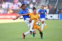 Carson, CA - Thursday August 03, 2017: Bruna Benites, Lisa De Vanna during a 2017 Tournament of Nations match between the women's national teams of Australia (AUS) and Brazil (BRA) at the StubHub Center.