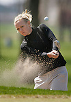 SIOUX FALLS, SD - MAY 4, 2009 :  Sadie Peavler of Mesa State hits out of the bunker adjacent to the 8th green at Westward Ho Monday during the 2009 NCAA Division II Super Regional Three Women's Golf Championships. (Photo by Dick Carlson/Inertia)
