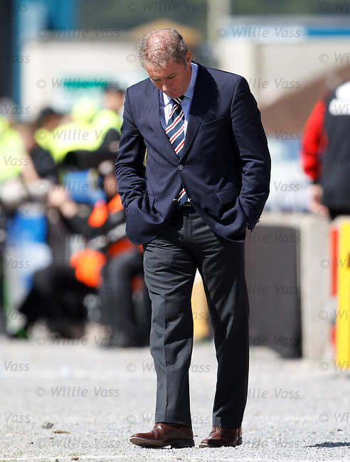 Ally McCoist kicking stones out of the technical area