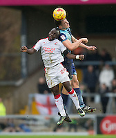 Enzio Boldewijn of Crawley Town & Luke O'Nien of Wycombe Wanderers during the Sky Bet League 2 match between Wycombe Wanderers and Crawley Town at Adams Park, High Wycombe, England on 25 February 2017. Photo by Andy Rowland / PRiME Media Images.