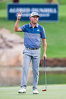 David Lipsky (USA) sinks his put on the 18th during the final round of the Alfred Dunhill Championship, Leopard Creek Golf Club, Malelane, South Africa. 16/12/2018<br /> Picture: Golffile | Tyrone Winfield<br /> <br /> <br /> All photo usage must carry mandatory copyright credit (© Golffile | Tyrone Winfield)