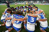 Players huddle for the end of game prayer. Sydney Roosters v Vodafone Warriors, NRL Rugby League. Allianz Stadium, Sydney, Australia. 31st March 2018. Copyright Photo: David Neilson / www.photosport.nz