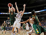 SIOUX FALLS, SD - MARCH 8:  A.J. Jacobson #21 from North Dakota State shoots against Reed Tellinghuisen #23 from South Dakota State University in the 2016 Summit League Championship game Tuesday night at the Denny Sanford Premier Center. (Photo by Dave Eggen/Inertia)