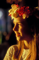 Beautiful young girl in Hawaii with flower head dress