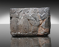 Picture & image of a Neo-Hittite orthostat showing goddess Kubaba  from  the legend of Gilgamesh from Karkamis,, Turkey. An Ankara Museum of Anatolian Civilizations exhibit.