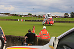 Rescue 116 landing in the GAA grounds with two casualties from a sunken fishing vessel off clogherhead, the men were recovered to an other fishing vessel and then onto the lifeboat and then airlifted by the coast guard to Our Lady of Lourdes Hospital in Drogheda. Drogheda Fire service provided fire cover, Drogheda Coast guard unit secured the landing zone.<br /> <br /> Picture: Fran Caffrey www.newsfile.ie