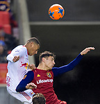 New York Red Bulls midfielder Tyler Adams (4) and Real Salt Lake midfielder Damir Kreilach (6) go up to head the ball in the first half Saturday, March 17, 2018, during the Major League Soccer game at Rio Tiinto Stadium in Sandy, Utah. (© 2018 Douglas C. Pizac)
