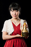 Miu Hirano of Japan poses backstage with her Table Tennis Breakthrough Star trophy during the ITTF Star Awards on 8th December 2016, in Doha, Qatar. Photo by Victor Fraile / Power Sport Images