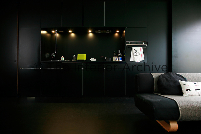 This small black-painted apartment features a galley kitchen built into a wall of cupboards at one end of the living area