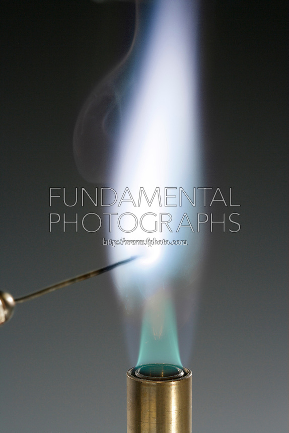 LEAD NITRATE FLAME TEST (Pb(NO3)2)<br /> Blue White flame indicates presence of Lead (Post Transition metal).<br /> Lead compound is dissociated by flame into gaseous atoms, not ions. Atoms of the element are raised to excited state by high temperature of flame. Excess energy from the atom is emitted as light of a characteristic wavelength.