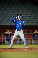 Oklahoma City Dodgers Errol Robinson (6) at bat during a Pacific Coast League game against the New Orleans Baby Cakes on May 6, 2019 at Shrine on Airline in New Orleans, Louisiana.  New Orleans defeated Oklahoma City 4-0.  (Mike Janes/Four Seam Images)