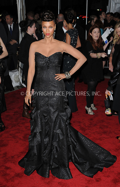 WWW.ACEPIXS.COM . . . . . ....May 4 2009, New York City....Tyra Banks arriving at 'The Model as Muse: Embodying Fashion' Costume Institute Gala at The Metropolitan Museum of Art on May 4, 2009 in New York City.....Please byline: KRISTIN CALLAHAN - ACEPIXS.COM.. . . . . . ..Ace Pictures, Inc:  ..tel: (212) 243 8787 or (646) 769 0430..e-mail: info@acepixs.com..web: http://www.acepixs.com