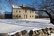Samuel Brooks House, along the Battle Road Trail, at Minute Man National Historical Park in Concord, Massachusetts USA during the winter months.