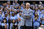 24 February 2015: UNC head coach Roy Williams. The University of North Carolina Tar Heels played the North Carolina State University Wolfpack in an NCAA Division I Men's basketball game at the Dean E. Smith Center in Chapel Hill, North Carolina. NC State won the game 58-46.