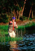Man fly fishing.