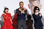 (L to R) Japanese actress Shiori Kutsuna, Canadian actor Ryan Reynolds and heavy metal band X JAPAN singer Toshi, pose for the cameras during the Japan Premiere for the film Deadpool 2 on May 29, 2018, Tokyo, Japan. The second installment of the Marvel hit movie will be released in Japan onJune 1st. (Photo by Rodrigo Reyes Marin/AFLO)
