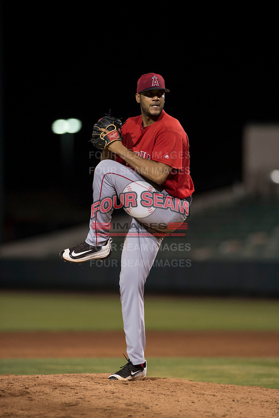 AZL Angels relief pitcher Cristia Reyes (33) delivers a pitch during an Arizona League game against the AZL Indians 2 at Tempe Diablo Stadium on June 30, 2018 in Tempe, Arizona. The AZL Indians 2 defeated the AZL Angels by a score of 13-8. (Zachary Lucy/Four Seam Images)