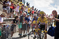 Yellow Jersey Julian Alaphilippe (FRA/Deceuninck Quick Step) finishing 2nd place on top of the Tourmalet and stays the convincing leader in GC. <br /> <br /> <br /> Stage 14: Tarbes to Tourmalet (117km)<br /> 106th Tour de France 2019 (2.UWT)<br /> <br /> ©kramon