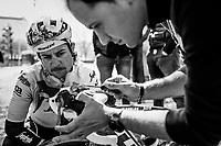 mechanic Glen Leven & Kiel Reynen (USA/Trek-Segafredo)<br /> <br /> preparations by Team Trek-Segafredo the day before the 109th Milano-Sanremo 2018