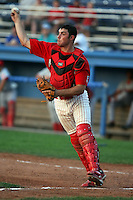 August 3rd 2008:  Catcher Charlie Cutler of the Batavia Muckdogs, Class-A affiliate of the St. Louis Cardinals, during a game at Dwyer Stadium in Batavia, NY.  Photo by:  Mike Janes/Four Seam Images