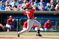 Washington Nationals shortstop Anthony Rendon #6 hits a home run during a Spring Training game against the Philadelphia Phillies at Bright House Field on March 6, 2013 in Clearwater, Florida.  Philadelphia defeated Washington 6-3.  (Mike Janes/Four Seam Images)