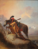 The Scalplock, painting, oil on canvas, by Alfred Jacob Miller, 1810-74, American artist, from the William Sr and Dorothy Harmsen Collection in the Denver Art Museum, Denver, Colorado, USA. This style of painting created a lasting impression of Native Americans, depicted wearing feather headdresses and ready to scalp their enemies. The figure is with his horse, holding a gun over his shoulder and the scalp in his right hand. Picture by Manuel Cohen