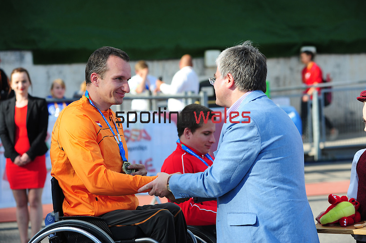 IPC European Athletics Championship 2014<br /> Swansea University<br /> <br /> Medal ceremony: Men's 200m T54.<br /> <br /> 22.08.14<br /> Chris Vaughan-SPORTINGWALES