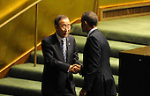 United States President Barack Obama shakes hands with UN Secretary General Ban Ki-Moon after addressing the United Nations General Assembly Tuesday, September 25, 2012 at UN Headquarters in New York City. .Credit: Aaron Showalter / Pool via CNP