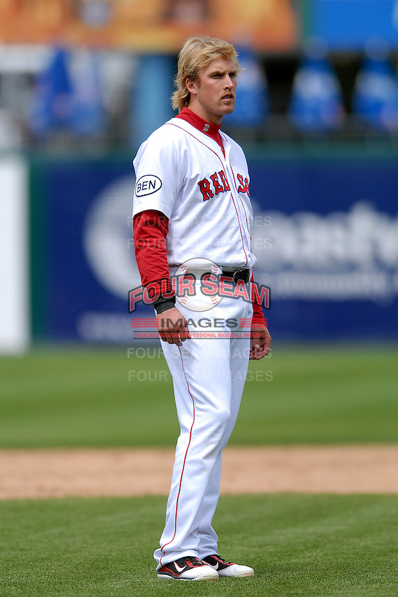 First baseman Lars Anderson #26 of the Pawtucket Red Sox during a game versus the Gwinnett Braves on May 12, 2011 at McCoy Stadium in Pawtucket, Rhode Island. Photo by Ken Babbitt /Four Seam Images