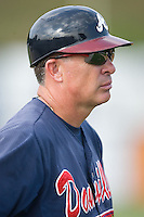 Danville Braves manager Paul Runge (12) from the third base coaches box at Dan Daniels Park in Danville, VA, Sunday July 27, 2008.