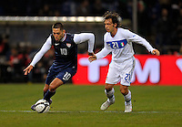 Clint Dempsey  (l,USA) vs. Andrea Pirlo (ITA), during the friendly match Italy against USA at the Stadium Luigi Ferraris at Genoa Italy on february the 29th, 2012.