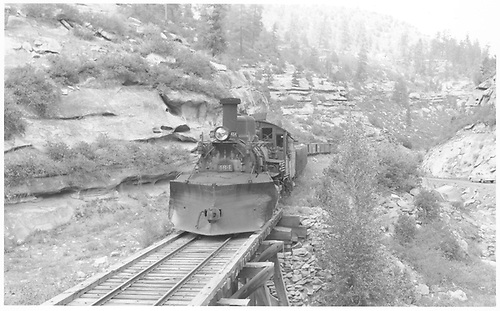 Leased D&amp;RGW #464 with an RGS freight on Bridge 158-B just east of Porter.<br /> RGS  Porter, CO  Taken by Richardson, Robert W. - 8/7/1950