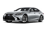 Stock pictures of low aggressive front three quarter view of a 2018 Lexus LS 500h 4 Door Sedan