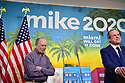 MIAMI, FLORIDA - MARCH 03: Former Miami Mayor Manny Diaz (R) speaks as he introduces Democratic presidential candidate, former New York City mayor Mik?e Bloomberg (L)during a stop at one of Mr. Bloombergs campaign offices in the Little Havana neighborhood on March 3, 2020 in Miami, Florida. Bloomberg? continues to campaign as voters cast their ballots in 14 states and American Samoa on what is known as Super Tuesday.  ( Photo by Johnny Louis / jlnphotography.com )