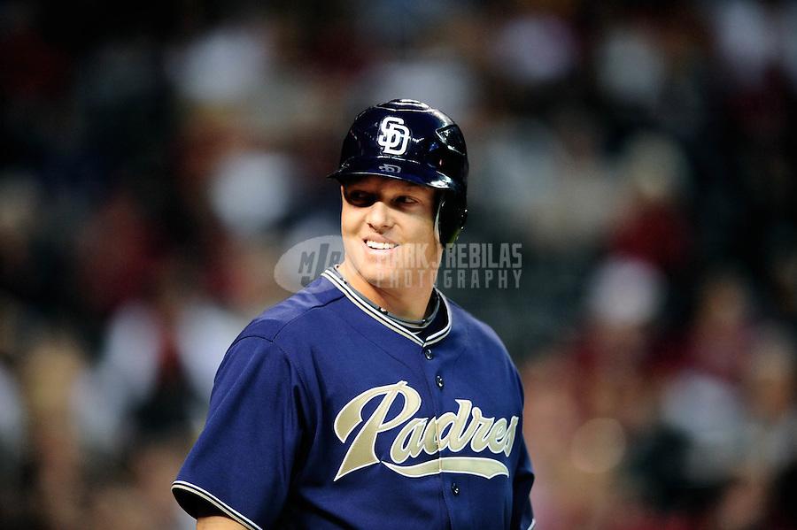Apr. 6, 2010; Phoenix, AZ, USA; San Diego Padres catcher Nick Hundley against the Arizona Diamondbacks at Chase Field. Mandatory Credit: Mark J. Rebilas-