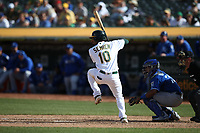 OAKLAND, CA - SEPTEMBER 18:  Marcus Semien #10 of the Oakland Athletics bats against the Kansas City Royals during the game at the Oakland Coliseum on Wednesday, September 18, 2019 in Oakland, California. (Photo by Brad Mangin)