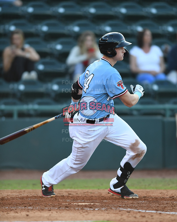 Hickory Crawdads Sam Huff (24) puts a ball in play during a game with the Asheville Tourists at L.P. Frans Stadium on May 8, 2019 in Hickory, North Carolina.The Tourists defeated the Crawdads 7-6. (Tracy Proffitt/Four Seam Images)