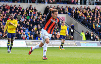 Olly Lee of Luton Town celebrates his goal during the Sky Bet League 2 match between Oxford United and Luton Town at the Kassam Stadium, Oxford, England on 16 April 2016. Photo by Liam Smith.