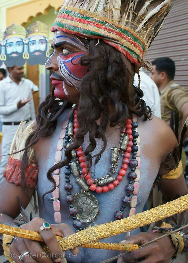 actor in street procession  in Pushkar, Rajastan, India