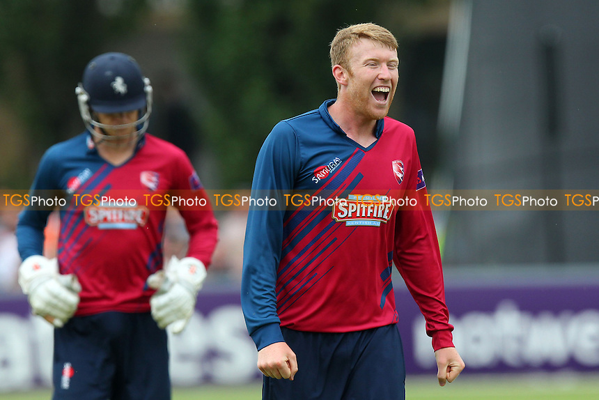 Adam Riley of Kent celebrates the wicket of Ravi Bopara - Essex Eagles vs Kent Spitfires - NatWest T20 Blast Cricket at Castle Park, Colchester, Essex - 12/07/14 - MANDATORY CREDIT: Gavin Ellis/TGSPHOTO - Self billing applies where appropriate - contact@tgsphoto.co.uk - NO UNPAID USE
