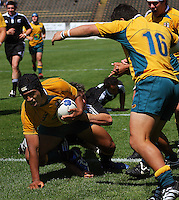 Ale Kotoni scores Australia's second try during the International rugby match between New Zealand Secondary Schools and Suncorp Australia Secondary Schools at Yarrows Stadium, New Plymouth, New Zealand on Friday, 10 October 2008. Photo: Dave Lintott / lintottphoto.co.nz