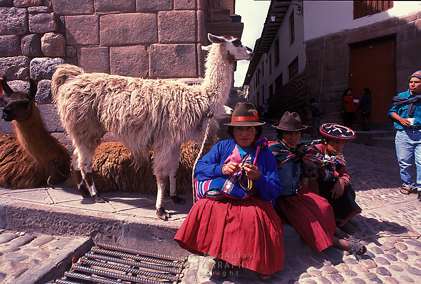 A traditionally dressed family sitting on street corner with llamas, Cusco, Peru