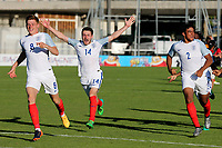 From left to right, Harvey Barnes (No 8) Elliott Embleton (No 14) and Reece James (No 2) celebrate their penalty shoot out victory during England Under-18 vs Ivory Coast Under-20, Toulon Tournament Final Football at Stade de Lattre-de-Tassigny on 10th June 2017