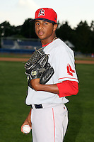 July 10th 2008:  Pitcher Charlie Rosario of the Lowell Spinners, Class-A affiliate of the Boston Red Sox, during a game at Dwyer Stadium in Batavia, NY.  Photo by:  Mike Janes/Four Seam Images