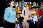Monica Lewinsky, fans wait outside a bookshop where she is due to sign copies of her book Monica's Story, 1999 London UK. With publishers wife and daughter.