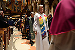 Elders of different ethnic and religious communities arrive for the mass ahead of the installation ceremony of the Archbishop-elect of Chicago, Blase Cupich, at Holy Name Cathedral in Chicago, Illinois on November 18, 2014.  Cupich is the ninth Archbishop of Chicago and succeeds Cardinal Francis George.