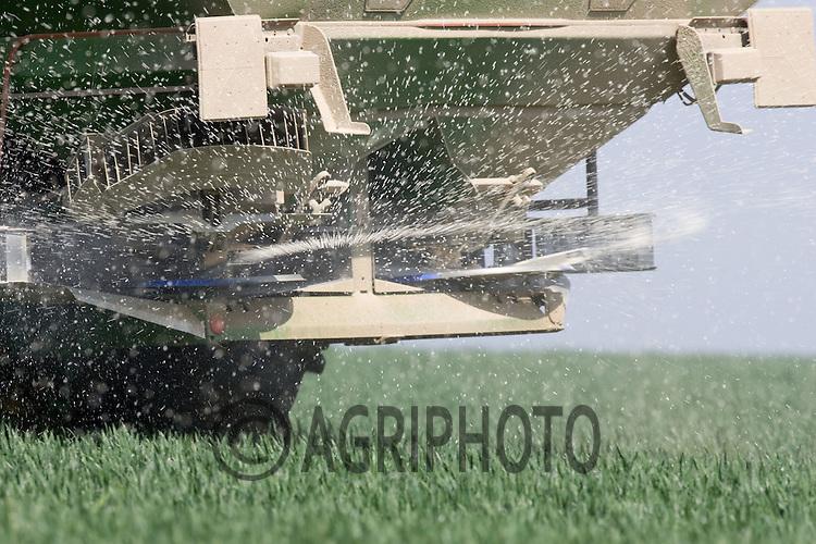 John Deere tractor applying nitrogen to Winter Wheat