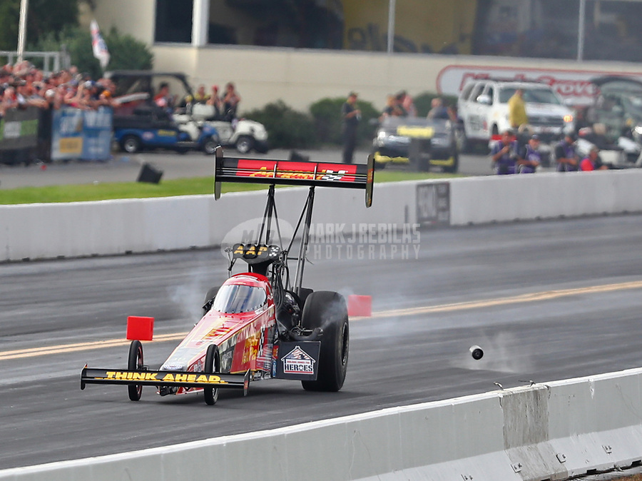 Sep 15, 2018; Mohnton, PA, USA; NHRA top fuel driver Brittany Force loses a blower pully during qualifying for the Dodge Nationals at Maple Grove Raceway. Mandatory Credit: Mark J. Rebilas-USA TODAY Sports