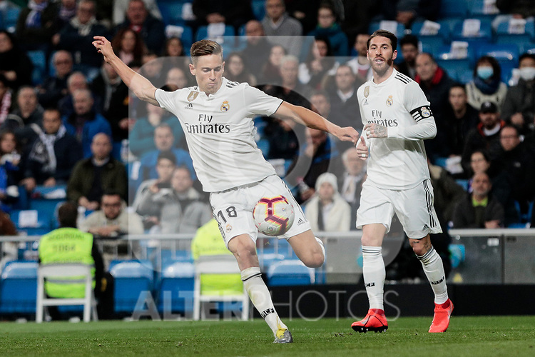 Real Madrid's Marcos Llorente during La Liga match between Real Madrid and SD Huesca at Santiago Bernabeu Stadium in Madrid, Spain.March 31, 2019. (ALTERPHOTOS/A. Perez Meca)