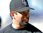 24 August 2007:  Colorado Rockies first baseman Todd Helton awaits his turn in the batting cage prior to a game against the Washington Nationals at Coors Field in Denver, Colorado. The Rockies rallied with 5 runs in the bottom of the 9th inning to defeat the Nationals 6-5 in the first game of their 3-game series...Mandatory Photo Credit: Ed Wolfstein Photo